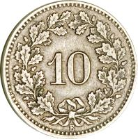 reverse of 10 Rappen (1850 - 1876) coin with KM# 6 from Switzerland. Inscription: 10