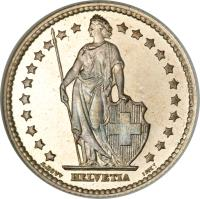 obverse of 1 Franc (1875 - 1967) coin with KM# 24 from Switzerland. Inscription: HELVETIA A. BOVY INCT