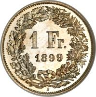 reverse of 1 Franc (1875 - 1967) coin with KM# 24 from Switzerland. Inscription: 1 Fr. 1875