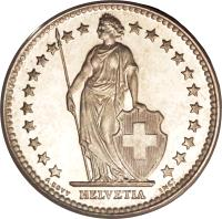 obverse of 2 Francs (1874 - 1967) coin with KM# 21 from Switzerland. Inscription: HELVETIA A. BOVY INCT
