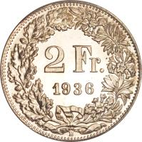 reverse of 2 Francs (1874 - 1967) coin with KM# 21 from Switzerland. Inscription: 2 Fr. 1874