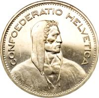 obverse of 5 Francs (1931 - 1969) coin with KM# 40 from Switzerland. Inscription: CONFOEDERATIO HELVETICA P. BVRKHARD INCT