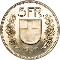 reverse of 5 Francs (1931 - 1969) coin with KM# 40 from Switzerland. Inscription: 5FR. 1937 B