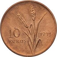 reverse of 10 Kuruş - FAO (1971 - 1974) coin with KM# 898 from Turkey. Inscription: 10 KURUŞ 1971