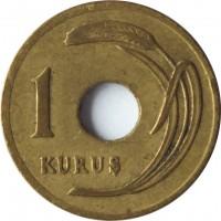 reverse of 1 Kuruş (1947 - 1951) coin with KM# 881 from Turkey. Inscription: 1 KURUS