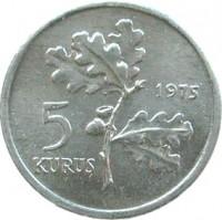 reverse of 5 Kuruş - FAO (1975) coin with KM# 906 from Turkey. Inscription: 5 KURUŞ 1975