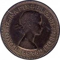 obverse of 1/2 Penny - Elizabeth II - With BRITT:OMN; 1'st Portrait (1953) coin with KM# 882 from United Kingdom. Inscription: +ELIZABETH II DEI GRA:BRITT:OMN:REGINA F:D