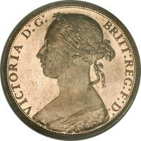 obverse of 1 Penny - Victoria - 2'nd Portrait (1874 - 1894) coin with KM# 755 from United Kingdom. Inscription: VICTORIA D:G: BRITT:REG:F:D: