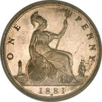 reverse of 1 Penny - Victoria - 2'nd Portrait (1874 - 1894) coin with KM# 755 from United Kingdom. Inscription: ONE PENNY 1881 H