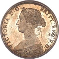 obverse of 1/2 Penny - Victoria - 2'nd Portrait (1860 - 1874) coin with KM# 748 from United Kingdom. Inscription: VICTORIA D:G: BRITT:REG:F:D: