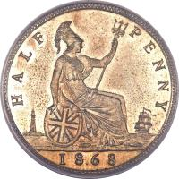 reverse of 1/2 Penny - Victoria - 2'nd Portrait (1860 - 1874) coin with KM# 748 from United Kingdom. Inscription: HALF PENNY 1862