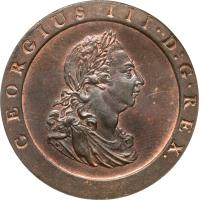 obverse of 1 Penny - George III (1797) coin with KM# 618 from United Kingdom. Inscription: GEORGIUS III · D:G · REX.