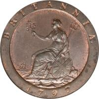 reverse of 1 Penny - George III (1797) coin with KM# 618 from United Kingdom. Inscription: BRITANNIA 1797