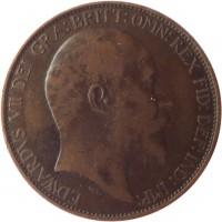 obverse of 1/2 Penny - Edward VII (1902 - 1910) coin with KM# 793 from United Kingdom. Inscription: EDWARDVS VII DEI GRA:BRITT:OMN:REX FID:DEF:IND:IMP: