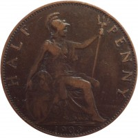 reverse of 1/2 Penny - Edward VII (1902 - 1910) coin with KM# 793 from United Kingdom. Inscription: HALF PENNY 1903