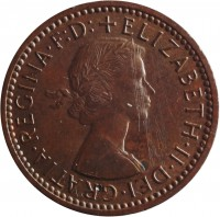 obverse of 1 Farthing - Elizabeth II - Without BRITT:OMN; 1'st Portrait (1954 - 1956) coin with KM# 895 from United Kingdom. Inscription: ELIZABETH · II · DEI · GRATIA · REGINA · F · D:+