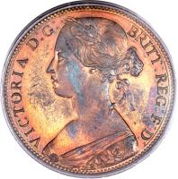 obverse of 1 Penny - Victoria - 2'nd Portrait (1860 - 1874) coin with KM# 749 from United Kingdom. Inscription: VICTORIA D:G: BRITT:REG:F:D: