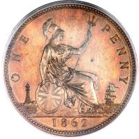 reverse of 1 Penny - Victoria - 2'nd Portrait (1860 - 1874) coin with KM# 749 from United Kingdom. Inscription: ONE PENNY 1862