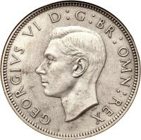 obverse of 2 Shillings - George VI - With IND:IMP (1937 - 1946) coin with KM# 855 from United Kingdom. Inscription: GEORGIVS VI D:G:BR:OMN:REX HP