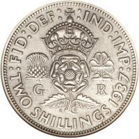 reverse of 2 Shillings - George VI - With IND:IMP (1937 - 1946) coin with KM# 855 from United Kingdom. Inscription: :FID:DEF: :IND:IMP: G R K G TWO SHILLINGS 1937