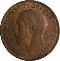 obverse of 1 Farthing - George V (1911 - 1925) coin with KM# 808 from United Kingdom. Inscription: GEORGIUS V DEI GRA:BRITT:OMN:REX FID:DEF:IND:IMP: