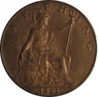 reverse of 1 Farthing - George V (1911 - 1925) coin with KM# 808 from United Kingdom. Inscription: FARTHING 1921