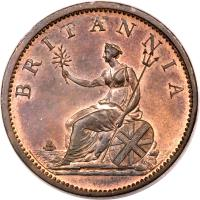 reverse of 1/2 Penny - George III (1806 - 1807) coin with KM# 662 from United Kingdom. Inscription: BRITANNIA SOHO