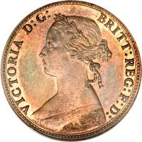obverse of 1/2 Penny - Victoria - 2'nd Portrait (1874 - 1894) coin with KM# 754 from United Kingdom. Inscription: VICTORIA D:G: BRITT:REG:F:D: