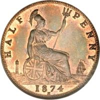 reverse of 1/2 Penny - Victoria - 2'nd Portrait (1874 - 1894) coin with KM# 754 from United Kingdom. Inscription: HALF PENNY 1874 H