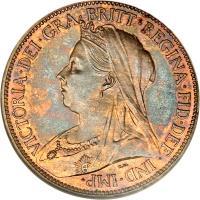 obverse of 1/2 Penny - Victoria - 3'rd Portrait (1895 - 1901) coin with KM# 789 from United Kingdom. Inscription: VICTORIA · DEI · GRA · BRITT · REGINA · FID · DEF · IND · IMP · T.B.
