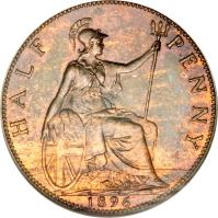 reverse of 1/2 Penny - Victoria - 3'rd Portrait (1895 - 1901) coin with KM# 789 from United Kingdom. Inscription: HALF PENNY 1896