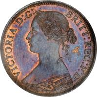 obverse of 1 Farthing - Victoria - 2'nd Portrait (1860 - 1873) coin with KM# 747 from United Kingdom. Inscription: VICTORIA D:G: BRITT:REG:F:D: