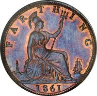 reverse of 1 Farthing - Victoria - 2'nd Portrait (1860 - 1873) coin with KM# 747 from United Kingdom. Inscription: FARTHING 1861