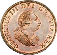 obverse of 1/2 Penny - George III (1799) coin with KM# 647 from United Kingdom. Inscription: GEORGIUS III DEI GRATIA REX