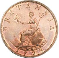 reverse of 1/2 Penny - George III (1799) coin with KM# 647 from United Kingdom. Inscription: BRITANNIA SOHO 1799