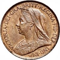 obverse of 1 Farthing - Victoria - 3'rd Portrait (1895 - 1901) coin with KM# 788 from United Kingdom. Inscription: VICTORIA D:G: BRITT:REG:F:D