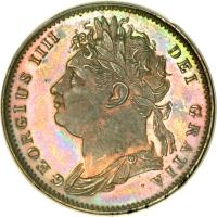 obverse of 1 Farthing - George IV (1821 - 1826) coin with KM# 677 from United Kingdom. Inscription: GEORGIUS IIII DEI GRATIA.