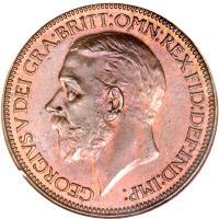 obverse of 1/2 Penny - George V - Modified portrait (1925 - 1927) coin with KM# 824 from United Kingdom. Inscription: GEORGIVS V DEI GRA:BRITT:OMN:REX FID:DEF:IND:IMP: BM