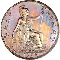 reverse of 1/2 Penny - George V - Modified portrait (1925 - 1927) coin with KM# 824 from United Kingdom. Inscription: HALF PENNY 1926