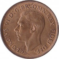 obverse of 1 Penny - George VI - Without IND:IMP (1949 - 1952) coin with KM# 869 from United Kingdom. Inscription: GEORGIUS VI D:G:BR:OMN:REX FIDEI DEF.