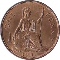 reverse of 1 Penny - George VI - Without IND:IMP (1949 - 1952) coin with KM# 869 from United Kingdom. Inscription: ONE PENNY 1950