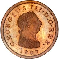 obverse of 1 Penny - George III (1806 - 1808) coin with KM# 663 from United Kingdom. Inscription: GEORGIUS III · D:G · REX. 1807