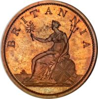 reverse of 1 Penny - George III (1806 - 1808) coin with KM# 663 from United Kingdom. Inscription: BRITANNIA