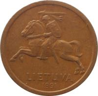 obverse of 10 Centų (1991) coin with KM# 88 from Lithuania. Inscription: LIETUVA 1991