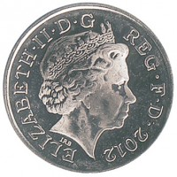 obverse of 5 Pence - Elizabeth II - Magnetic; 4'th Portrait (2011 - 2015) coin with KM# 1109d from United Kingdom. Inscription: ELIZABETH · II · D · G REG · F · D · 2012 IRB