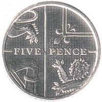 reverse of 5 Pence - Elizabeth II - Magnetic; 4'th Portrait (2011 - 2015) coin with KM# 1109d from United Kingdom. Inscription: FIVE PENCE