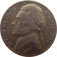 obverse of 5 Cents - Jefferson Wartime Nickel; 1'st Portrait (1942 - 1945) coin with KM# 192a from United States. Inscription: IN GOD WE TRUST LIBERTY*1943 FS