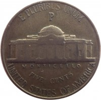 reverse of 5 Cents - Jefferson Wartime Nickel; 1'st Portrait (1942 - 1945) coin with KM# 192a from United States. Inscription: E PLURIBUS UNUM P MONTICELLO FIVE CENTS UNITED STATES OF AMERICA