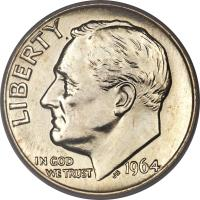obverse of 1 Dime - Roosevelt Silver Dime (1946 - 1964) coin with KM# 195 from United States. Inscription: LIBERTY IN GOD WE TRUST 1964 JS