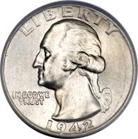 obverse of 1/4 Dollar - Washington Silver Quarter (1932 - 1964) coin with KM# 164 from United States. Inscription: LIBERTY IN GOD WE TRUST 1953